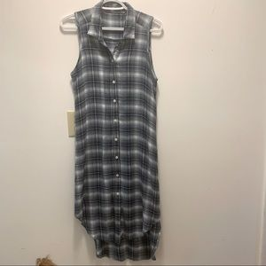 Blue Plaid Button Down Tunic Dress with Slits on the Side Size Small